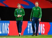 12 November 2020; Seamus Coleman and Republic of Ireland goalkeeping coach Alan Kelly prior to the International Friendly match between England and Republic of Ireland at Wembley Stadium in London, England. Photo by Stephen McCarthy/Sportsfile