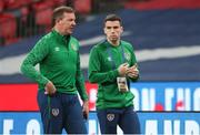 12 November 2020; Republic of Ireland goalkeeping coach Alan Kelly, left, and Seamus Coleman prior to the International Friendly match between England and Republic of Ireland at Wembley Stadium in London, England. Photo by Matt Impey/Sportsfile