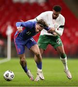 12 November 2020; Jack Grealish of England holds off the challenge of Cyrus Christie of Republic of Ireland during the International Friendly match between England and Republic of Ireland at Wembley Stadium in London, England. Photo by Matt Impey/Sportsfile