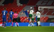 12 November 2020; Harry Maguire of England heads to score his side's first goal despite the attempts of Shane Duffy of Republic of Ireland during the International Friendly match between England and Republic of Ireland at Wembley Stadium in London, England. Photo by Stephen McCarthy/Sportsfile