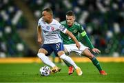 12 November 2020; Stanislav Lobotka of Slovakia in action against Steven Davis of Northern Ireland during the UEFA EURO2020 Qualifying Play-Off Final match between Northern Ireland and Slovakia at National Football Stadium at Windsor Park in Belfast. Photo by David Fitzgerald/Sportsfile