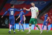 12 November 2020; Shane Duffy of Republic of Ireland, right, and Jadon Sancho of England after the International Friendly match between England and Republic of Ireland at Wembley Stadium in London, England. Photo by Matt Impey/Sportsfile