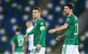 12 November 2020; Steven Davis, left, and Craig Cathcart of Northern Ireland during the UEFA EURO2020 Qualifying Play-Off Final match between Northern Ireland and Slovakia at National Football Stadium at Windsor Park in Belfast. Photo by David Fitzgerald/Sportsfile