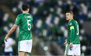 12 November 2020; Steven Davis, right, and Jonny Evans of Northern Ireland during the UEFA EURO2020 Qualifying Play-Off Final match between Northern Ireland and Slovakia at National Football Stadium at Windsor Park in Belfast. Photo by David Fitzgerald/Sportsfile