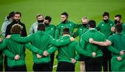 13 November 2020; Ireland head coach Andy Farrell speaks to his players prior to the Autumn Nations Cup match between Ireland and Wales at Aviva Stadium in Dublin. Photo by David Fitzgerald/Sportsfile