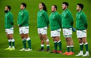 13 November 2020; Ireland players, from left, Jamison Gibson-Park, Dave Heffernan, James Lowe, Ed Byrne, Will Connors and Conor Murray during the National Anthem ahead of the Autumn Nations Cup match between Ireland and Wales at Aviva Stadium in Dublin. Photo by Ramsey Cardy/Sportsfile