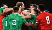 13 November 2020; Alun Wyn-Jones of Wales, left, and Peter O'Mahony of Ireland tussle during the Autumn Nations Cup match between Ireland and Wales at Aviva Stadium in Dublin. Photo by David Fitzgerald/Sportsfile