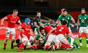 13 November 2020; Quinn Roux of Ireland scores his side's first try during the Autumn Nations Cup match between Ireland and Wales at Aviva Stadium in Dublin. Photo by Ramsey Cardy/Sportsfile