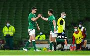 13 November 2020; Billy Burns of Ireland, right, comes on to replace injured team-mate Jonathan Sexton during the Autumn Nations Cup match between Ireland and Wales at Aviva Stadium in Dublin. Photo by David Fitzgerald/Sportsfile