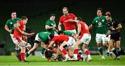 13 November 2020; Robbie Henshaw of Ireland wins a turnover penalty against Leigh Halfpenny of Wales during the Autumn Nations Cup match between Ireland and Wales at Aviva Stadium in Dublin. Photo by David Fitzgerald/Sportsfile