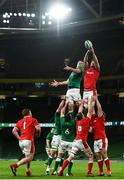 13 November 2020; James Ryan of Ireland and Will Rowlands of Wales compete a lineout during the Autumn Nations Cup match between Ireland and Wales at Aviva Stadium in Dublin. Photo by David Fitzgerald/Sportsfile