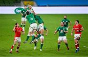 13 November 2020; Peter O'Mahony, 6, and Dave Heffernan of Ireland in action against Josh Adams of Wales during the Autumn Nations Cup match between Ireland and Wales at Aviva Stadium in Dublin. Photo by Ramsey Cardy/Sportsfile