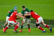 13 November 2020; Caelan Doris of Ireland is tackled by Elliot Dee, left, and Samson Lee of Wales during the Autumn Nations Cup match between Ireland and Wales at Aviva Stadium in Dublin. Photo by Ramsey Cardy/Sportsfile