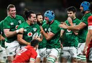 13 November 2020; James Lowe of Ireland celebrates with team-mates Chris Farrell, left, and Will Connors after scoring their side's second try during the Autumn Nations Cup match between Ireland and Wales at Aviva Stadium in Dublin. Photo by David Fitzgerald/Sportsfile