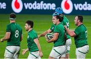 13 November 2020; James Lowe of Ireland is congratulated by team-mates after scoring his side's second try during the Autumn Nations Cup match between Ireland and Wales at Aviva Stadium in Dublin. Photo by Ramsey Cardy/Sportsfile