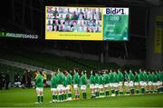 13 November 2020; The Harmony Federation choir sing Ireland's Call with the Ireland team ahead of the Autumn Nations Cup match between Ireland and Wales at Aviva Stadium in Dublin. Photo by David Fitzgerald/Sportsfile