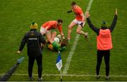 14 November 2020; Hugh McFadden of Donegal is tackled by Jamie Clarke of Armagh during the Ulster GAA Football Senior Championship Semi-Final match between Donegal and Armagh at Kingspan Breffni in Cavan. Photo by David Fitzgerald/Sportsfile