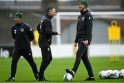 14 November 2020; Republic of Ireland assistant manager John O'Shea, right, Republic of Ireland manager Jim Crawford, centre, and Republic of Ireland assistant manager Alan Reynolds during a Republic of Ireland U21's training session at Tallaght Stadium in Dublin. Photo by Harry Murphy/Sportsfile