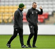 14 November 2020; Republic of Ireland manager Jim Crawford, right, and assistant manager Alan Reynolds during a Republic of Ireland U21's training session at Tallaght Stadium in Dublin. Photo by Harry Murphy/Sportsfile