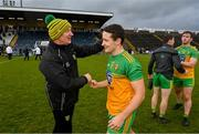 14 November 2020; Donegal manager Declan Bonner and Eoin McHugh following the Ulster GAA Football Senior Championship Semi-Final match between Donegal and Armagh at Kingspan Breffni in Cavan. Photo by Ramsey Cardy/Sportsfile