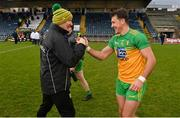 14 November 2020; Donegal manager Declan Bonner and Paul Brennan following the Ulster GAA Football Senior Championship Semi-Final match between Donegal and Armagh at Kingspan Breffni in Cavan. Photo by Ramsey Cardy/Sportsfile
