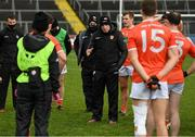 14 November 2020; Armagh manager Kieran McGeeney speaks to his players following defeat in the Ulster GAA Football Senior Championship Semi-Final match between Donegal and Armagh at Kingspan Breffni in Cavan. Photo by Ramsey Cardy/Sportsfile