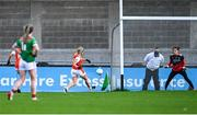 14 November 2020; Kelly Mallon of Armagh shoots to score her side's first goal despite the efforts of Laura Brennan of Mayo during the TG4 All-Ireland Senior Ladies Football Championship Round 3 match between Armagh and Mayo at Parnell Park in Dublin. Photo by Sam Barnes/Sportsfile