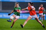 14 November 2020; Sarah Rowe of Mayo in action against Tiarna Grimes of Armagh during the TG4 All-Ireland Senior Ladies Football Championship Round 3 match between Armagh and Mayo at Parnell Park in Dublin. Photo by Sam Barnes/Sportsfile