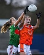 14 November 2020; Tiarna Grimes of Armagh in action against Sarah Rowe of Mayo during the TG4 All-Ireland Senior Ladies Football Championship Round 3 match between Armagh and Mayo at Parnell Park in Dublin. Photo by Sam Barnes/Sportsfile