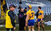 14 November 2020; Wexford manager Davy Fitzgerald is greeted by Seadna Morey of Clare after the GAA Hurling All-Ireland Senior Championship Qualifier Round 2 match between Wexford and Clare at MW Hire O'Moore Park in Portlaoise, Laois. Photo by Piaras Ó Mídheach/Sportsfile