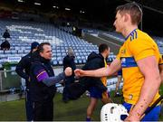 14 November 2020; Wexford manager Davy Fitzgerald is greeted by Conor Cleary of Clare after the GAA Hurling All-Ireland Senior Championship Qualifier Round 2 match between Wexford and Clare at MW Hire O'Moore Park in Portlaoise, Laois. Photo by Piaras Ó Mídheach/Sportsfile