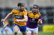 14 November 2020; Tony Kelly of Clare in action against Mikie Dwyer of Wexford during the GAA Hurling All-Ireland Senior Championship Qualifier Round 2 match between Wexford and Clare at MW Hire O'Moore Park in Portlaoise, Laois. Photo by Piaras Ó Mídheach/Sportsfile