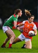 14 November 2020; Caroline O'Hanlon of Armagh in action against Aileen Gilroy of Mayo during the TG4 All-Ireland Senior Ladies Football Championship Round 3 match between Armagh and Mayo at Parnell Park in Dublin. Photo by Sam Barnes/Sportsfile