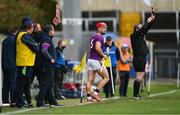 14 November 2020; Lee Chin of Wexford prepares to come on as a substitute during the GAA Hurling All-Ireland Senior Championship Qualifier Round 2 match between Wexford and Clare at MW Hire O'Moore Park in Portlaoise, Laois. Photo by Piaras Ó Mídheach/Sportsfile