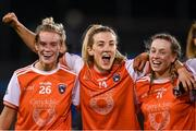 14 November 2020; Armagh players from left, Shauna Grey, Kelly Mallon and Aoife McCoy celebrate following the TG4 All-Ireland Senior Ladies Football Championship Round 3 match between Armagh and Mayo at Parnell Park in Dublin. Photo by Sam Barnes/Sportsfile