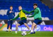 14 November 2020; Jack Byrne, left, in action against Ryan Manning during a Republic of Ireland training session at Cardiff City Stadium in Cardiff, Wales. Photo by Stephen McCarthy/Sportsfile
