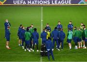 14 November 2020; Republic of Ireland manager Stephen Kenny speaking to his players during a Republic of Ireland training session at Cardiff City Stadium in Cardiff, Wales. Photo by Stephen McCarthy/Sportsfile