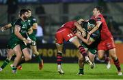 14 November 2020; Tom Daly of Connacht is tackled by Steff Hughes, left, and Dan Jones of Scarlets during the Guinness PRO14 match between Connacht and Scarlets at Sportsground in Galway. Photo by Ramsey Cardy/Sportsfile
