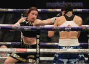 14 November 2020; Katie Taylor, left, during her Undisputed Female Lightweight Championship bout against Miriam Gutierrez at SSE Wembley Arena in London, England. Photo by Mark Robinson / Matchroom Boxing via Sportsfile