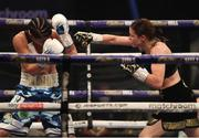 14 November 2020; Katie Taylor, right, and Miriam Gutierrez during their Undisputed Female Lightweight Championship bout at SSE Wembley Arena in London, England. Photo by Dave Thompson / Matchroom Boxing via Sportsfile