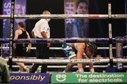 14 November 2020; Miriam Gutierrez is knocked down in the fourth round by Katie Taylor during their Undisputed Female Lightweight Championship bout at SSE Wembley Arena in London, England. Photo by Dave Thompson / Matchroom Boxing via Sportsfile