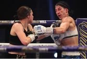 14 November 2020; Katie Taylor, left, and Miriam Gutierrez during their Undisputed Female Lightweight Championship bout at SSE Wembley Arena in London, England. Photo by Mark Robinson / Matchroom Boxing via Sportsfile