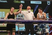 14 November 2020; Katie Taylor is declared victorious by referee John Latham following her Undisputed Female Lightweight Championship bout against Miriam Gutierrez at SSE Wembley Arena in London, England. Photo by Mark Robinson / Matchroom Boxing via Sportsfile