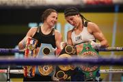 14 November 2020; Katie Taylor, left, following her Undisputed Female Lightweight Championship bout victory over Miriam Gutierrez at SSE Wembley Arena in London, England. Photo by Dave Thompson / Matchroom Boxing via Sportsfile