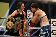 14 November 2020; Katie Taylor, left, following her Undisputed Female Lightweight Championship bout victory over Miriam Gutierrez at SSE Wembley Arena in London, England. Photo by Mark Robinson / Matchroom Boxing via Sportsfile