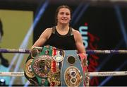 14 November 2020; Katie Taylor following her Undisputed Female Lightweight Championship bout victory over Miriam Gutierrez at SSE Wembley Arena in London, England. Photo by Mark Robinson / Matchroom Boxing via Sportsfile