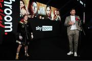 14 November 2020; Katie Taylor and promoter Eddie Hearn following her Undisputed Female Lightweight Championship bout victory over Miriam Gutierrez at SSE Wembley Arena in London, England. Photo by Mark Robinson / Matchroom Boxing via Sportsfile