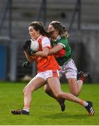 14 November 2020; Aimee Mackin of Armagh in action against Danielle Caldwell of Mayo during the TG4 All-Ireland Senior Ladies Football Championship Round 3 match between Armagh and Mayo at Parnell Park in Dublin. Photo by Sam Barnes/Sportsfile