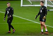 15 November 2020; Ed McGinty, right, and Brian Maher of Republic of Ireland warm up prior to the UEFA European U21 Championship Qualifier match between Republic of Ireland and Iceland at Tallaght Stadium in Dublin.  Photo by Harry Murphy/Sportsfile