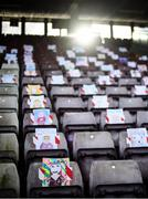 15 November 2020; Drawings supporting Galway are seen on empty seats prior to the Connacht GAA Football Senior Championship Final match between Galway and Mayo at Pearse Stadium in Galway. Photo by David Fitzgerald/Sportsfile